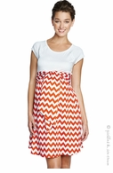 Maternal America Maternity Orange ZigZag Front Tie Dress