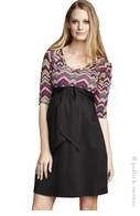 Maternal America Maternity Pink Chervron & Black Combo Dress