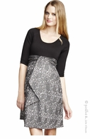 Maternal America Maternity Black & Lace Front Tie Dress