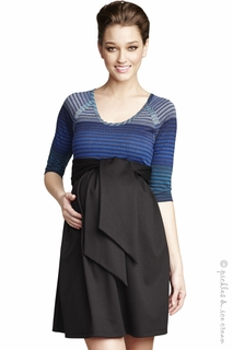 Maternal America Front Tie Mason Dress Black & Blue