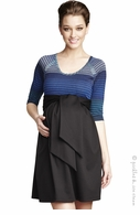 Maternal America Front Tie Mason Dress Black & Blue-Final Sale