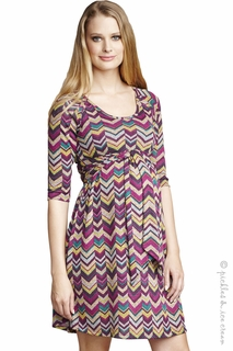 Maternal America Maternity Pink Chevron Dress