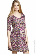 Maternal America Maternity Pink Chevron Dress - Final Sale