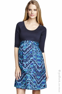 Maternal America Maternity Turquoise Geo Print Dress