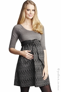 Maternal America Maternity Grey Zigzag<br> Front Tie Dress