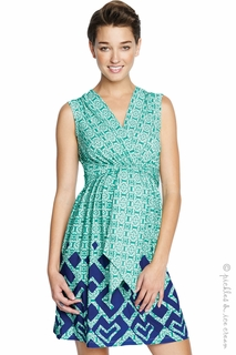 Maternal America Mint Rhinestone Print Front Tie Dress