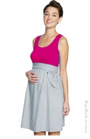 Maternal America Maternity Ruffle Pockets Dress Magenta - Final Sale