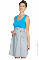 Maternal America Maternity Ruffle Pockets Dress Turquoise - Final Sale