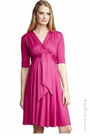 Maternal America Tie-Front Fuschia Dress