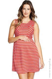 Maternal America Front Pleat Red & White Stripe Dress