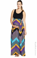 Maternal America Racer Tank Chevron Maxi Dress