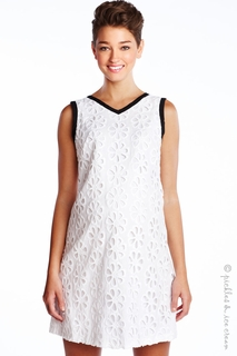 Maternal America Eyelet Shift Dress White-Final Sale