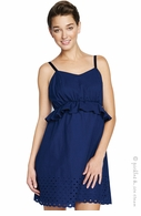Maternal America Navy Eyelet Peplum Dress