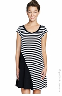 Maternal America Maternity Black & White Stripe Tee Dress