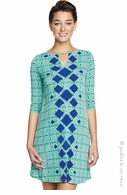 Maternal America Green & Blue Diamond Keyhole Dress