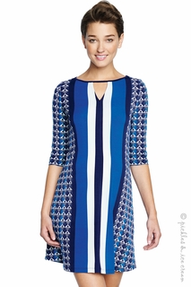 Maternal America Blue Chrystal Keyhole Dress - Final Sale