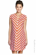 Maternal America Maternity Orange Zigzag Shift Dress