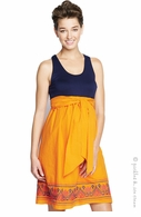 Maternal America Maternity Navy & Orange Embroidery Tank Dress