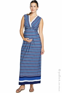 Maternity Clothes: Maternal America Blue Crystal Maternity & Nursing Maxi Dress - Click to enlarge