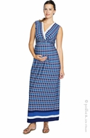 Maternal America Blue Crystal Maternity & Nursing Maxi Dress