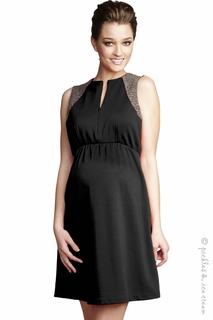 Maternal America Front Zip Boucle Shoulder Ponte Dress Black
