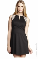 Maternal America Front Zip Butterscotch Stripe Ponte Dress Black