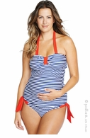 Maternal America Navy Stripe & Red Carrie Tankini