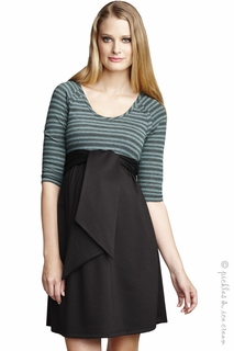 Maternal America Scoopneck Mojito Stripe Front Tie Dress