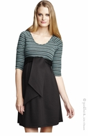 Maternal America Scoopneck Mojito Stripe Front Tie Dress-Final Sale