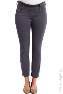 Maternity Clothes: Maternal America Skinny Ankle Cement Grey Jeans  - Click to enlarge