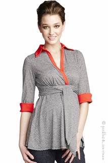 Maternal America Maternity Black Mini Stripes & Red Front-Tie Top