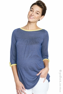 Maternal America Navy Check Boatneck Top
