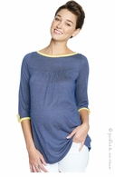 Maternal America Navy Check Boatneck Top - Final Sale
