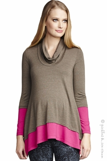 Maternal America Maternity Olive & Fuschia Layered Top
