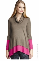 Maternal America Maternity Olive & Fuchsia Layered Top