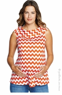 Maternal America Orange Zigzag Jackie Top