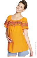 Maternal America Orange Embroidered Peasant Top