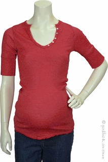Michael Stars Maternity Shine Elbow Sleeve Henley Heart