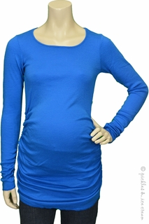 Michael Stars Maternity Shine Ruched Tunic Tee Pacific Blue
