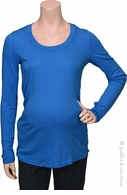 Michael Stars Maternity 1x1 Slub Long Sleeve Tee Pacific
