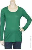 Michael Stars Maternity 1x1 Slub Long Sleeve Tee Shamrock