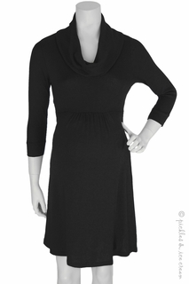 Maternity Clothes: Michael Stars Maternity Shine Cowl Neck Dress Black - Click to enlarge
