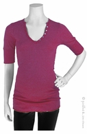 Michael Stars Maternity Shine Elbow Sleeve Henley Mauve