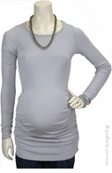 Michael Stars Maternity Shine Ruched Tunic Silver Grey