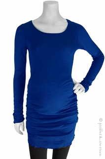 Maternity Clothes: Michael Stars Maternity Shine Ruched Tunic Adriatic Blue - Click to enlarge