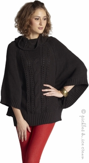 Mothers en Vogue Maternity Cable Knit Poncho Charcoal