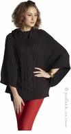 Mothers en Vogue Maternity Cable Knit Poncho Charcoal - Final Sale