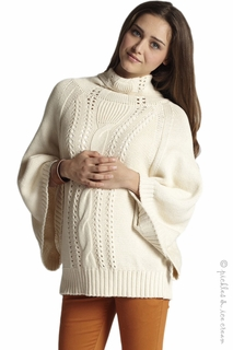 Mothers en Vogue Maternity & Nursing Cable Knit Poncho Ivory - Final Sale