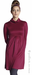 Mothers en Vogue Maternity & Nursing Must-Have Turtleneck Long Sleve Dress Cherry Red - Final Sale