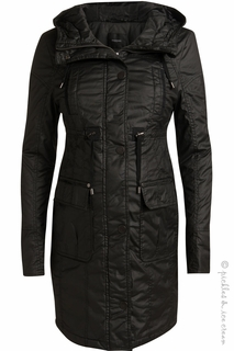 Maternity Clothes: Noppies Maternity Alan Puffer Coat Black - Click to enlarge